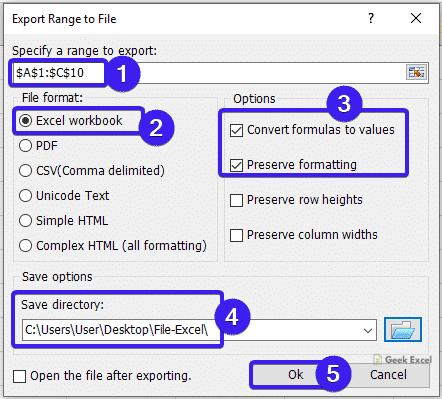 Export Range to File Dialog Box