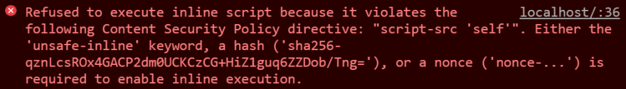 Chrome console message for inline script