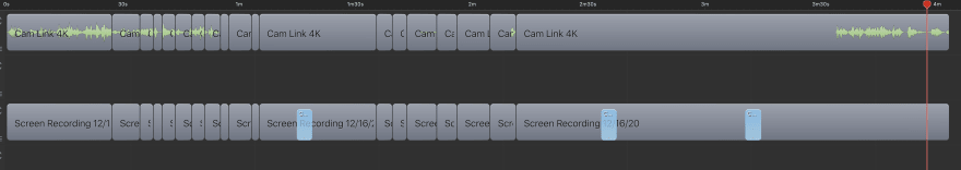 Screenflow editing track from editor, only audio and head