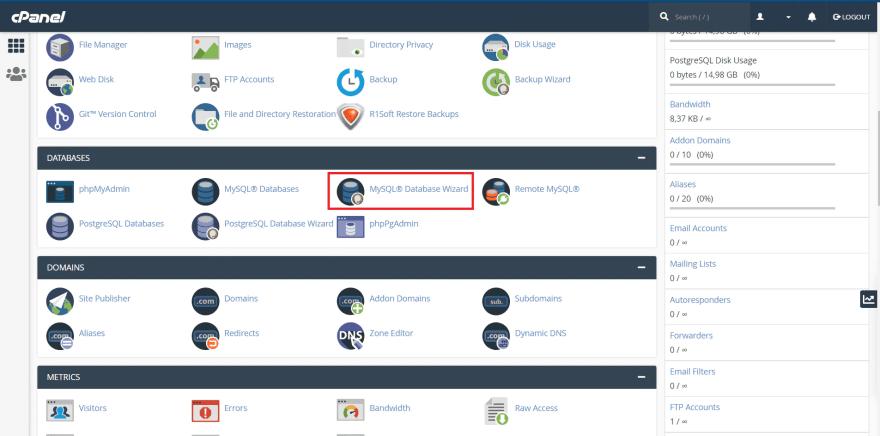 cPanel dashboard - search for MySQL wizard
