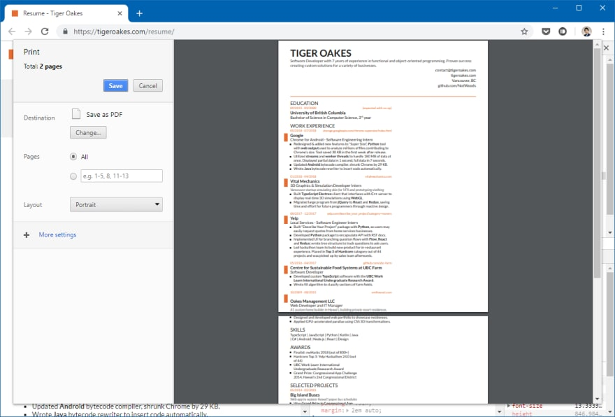 Chrome print preview showing a broken resume layout