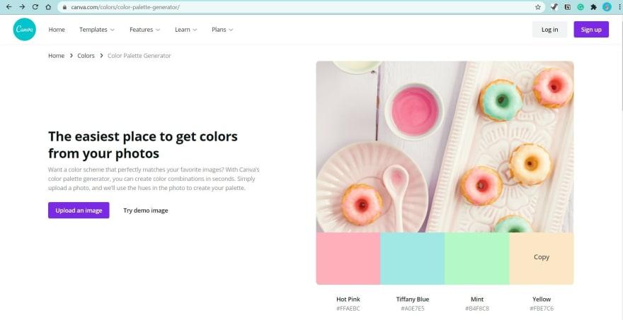Canva Color Generator website screenshot