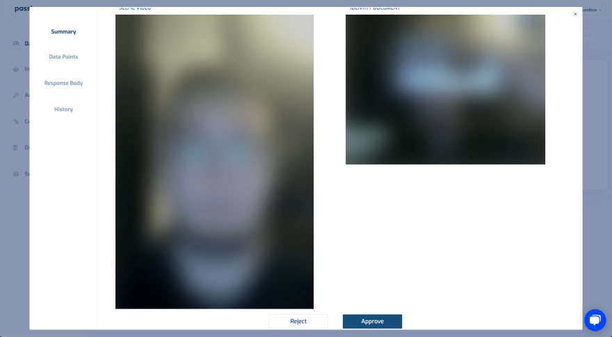 Passbase blurred facial scan and document