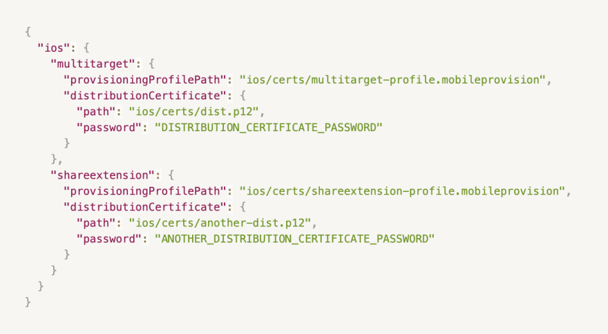 Here we have our main application target `multitarget` and a Share Extension target `shareextension.`