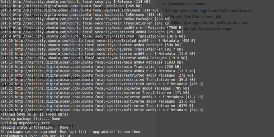 run command 'apt update'