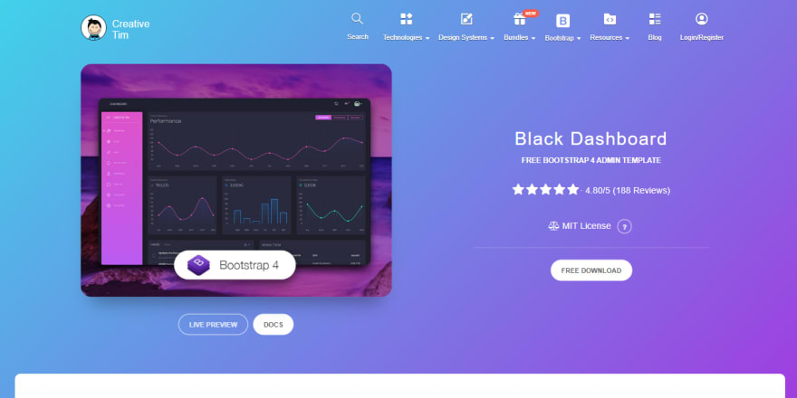 Black Dashboard - Product Screen.
