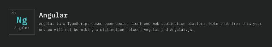 screenshot of quote from survey site: 'Note that from this year on, we will not be making a distinction between Angular and Angular.js.'