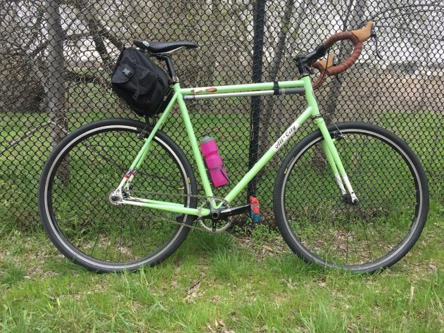 bike against a fence