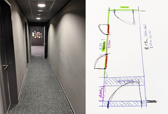 A photo of said corridor and a rough sketch of its dimensions