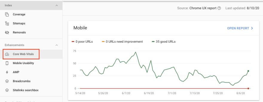 google search console - web vitals