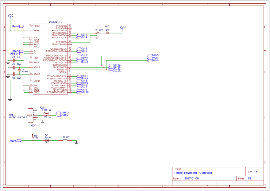 I took the Arduino Pro Micro schematic, removed the 5V regulator and Tx/RX LEDs, and mapped the GPIO pins