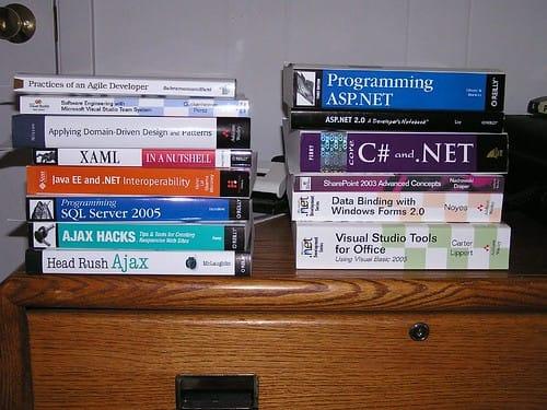 programming books stack, multiple books programming