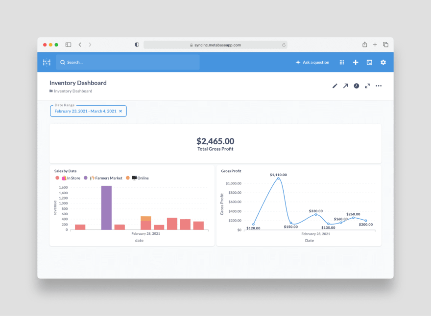 Finished Airtable to Metabase dashboard