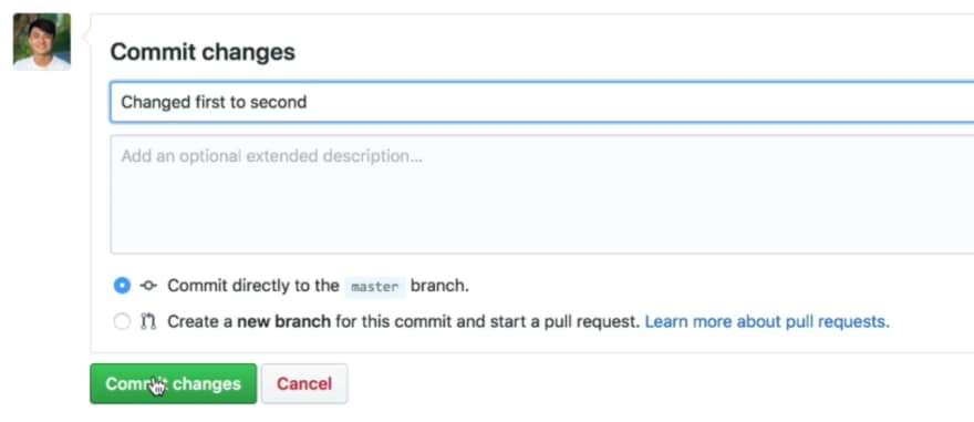 Making a commit on the remote