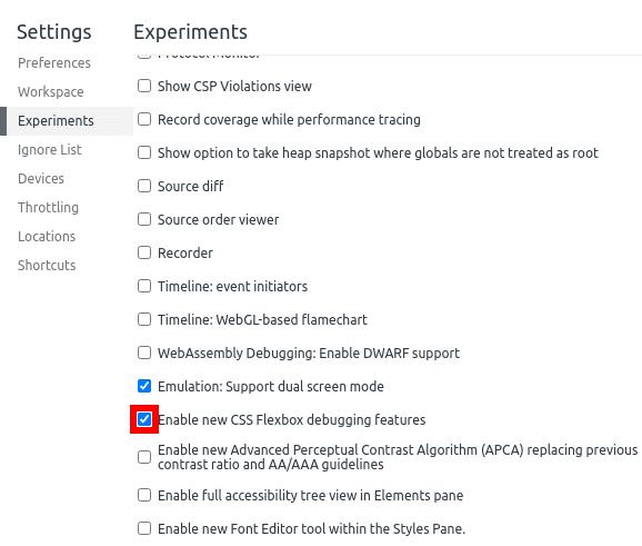 Flexbox - activate experiment