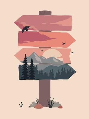 wooded mountain background on a crossroads post with 4 direction arrows pointing to the left and right