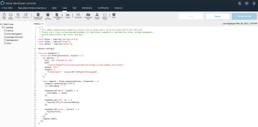 Code Areas Alexa Console