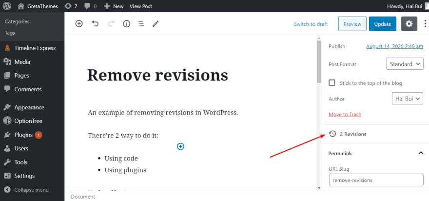 Post Revisions on the WordPress Website