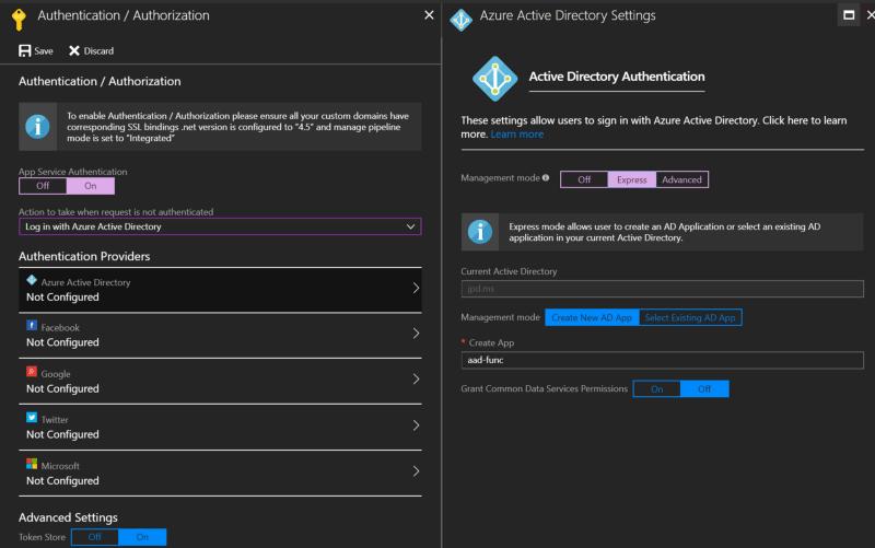 Add Azure AD via Function App → Platform Features → Authentication/Authorization