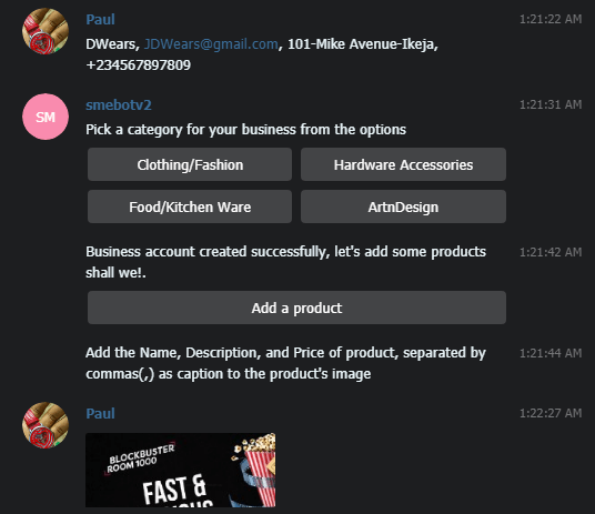A screenshot of the response from the telegram bot