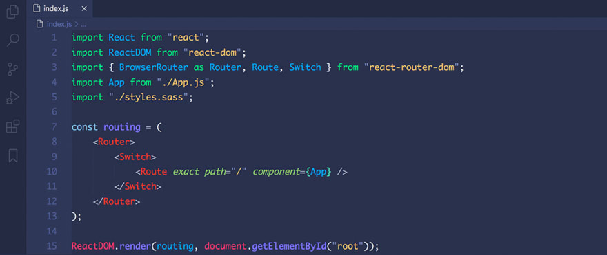 React code snippet with the Code Blue theme