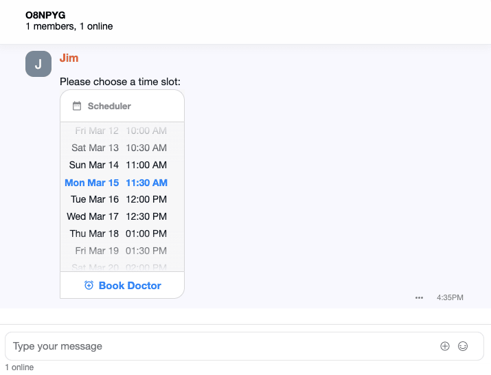 User selects a time slot