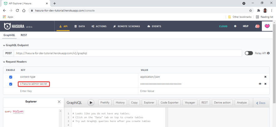 An authenticated user logged in to a Hasura Web console