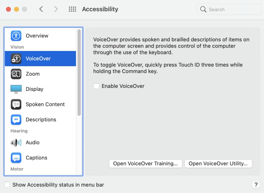 The accessibility section of the Mac settings, with VoiceOver selected