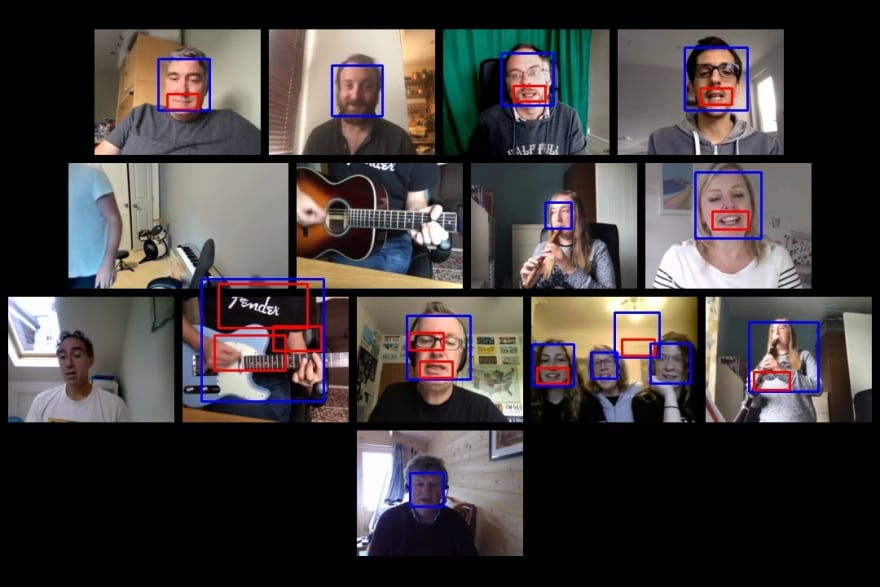 Faces and smiles detected in image