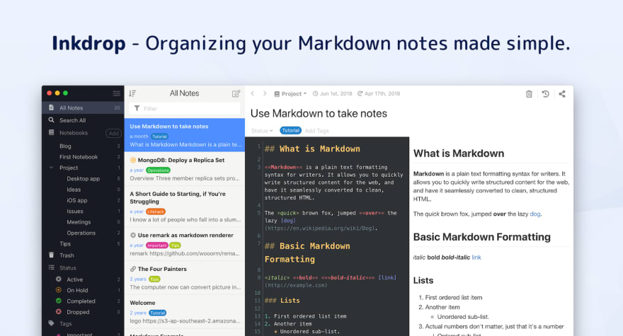 Inkdrop - Organizing your Markdown notes made simple