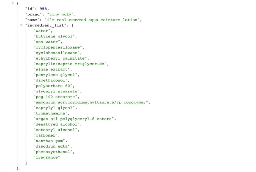 JSON response from API