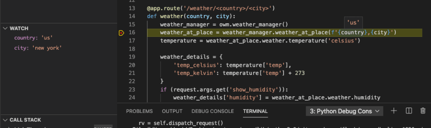 """The debugger shows us that """"country"""" is set to """"us"""". On the left, we can see the values of """"country"""" and """"city"""" in the Watch pane."""