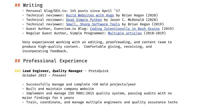 My resume, rev 2, part 2.