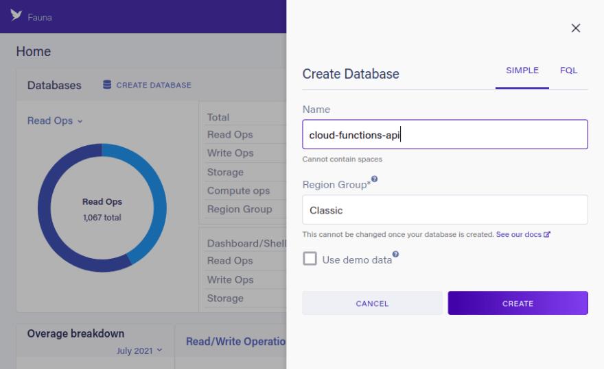 Create Database form