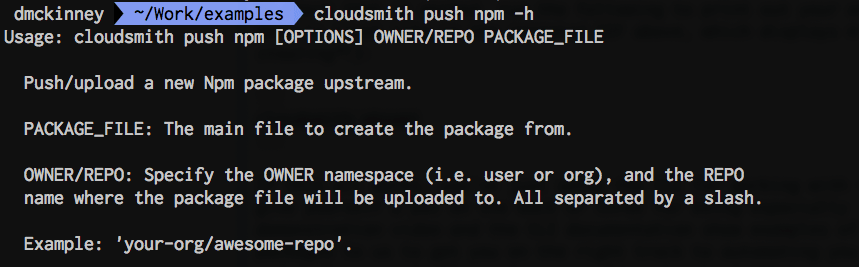 cloudsmith push npm -h