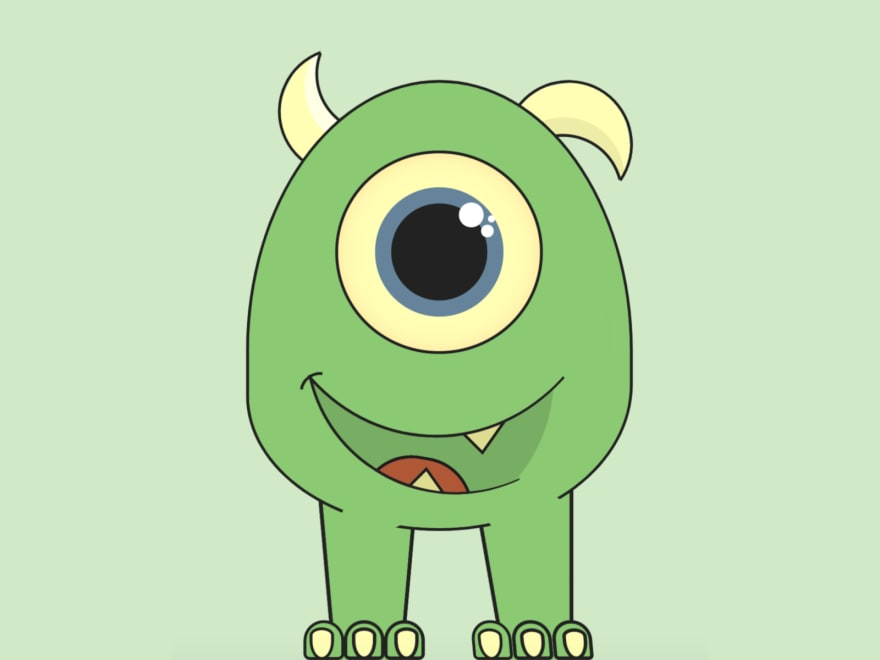 Cartoon of a smiling monster with a big head/body, one eye only, no arms, two legs, and two horns