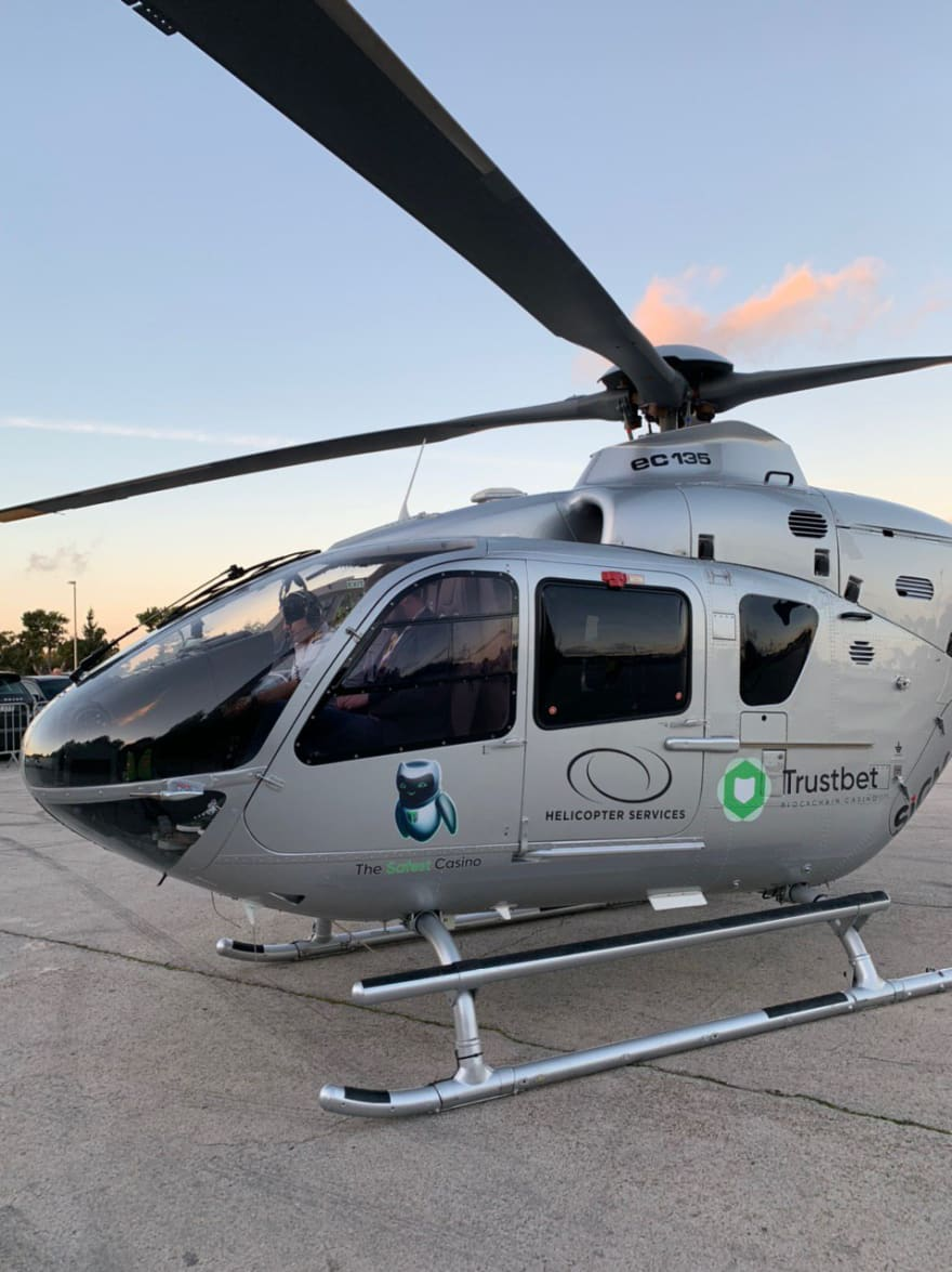 Trustbet-branded helicopter