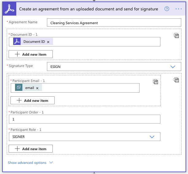 Create an agreement action for Adobe Sign in Microsoft Power Automate