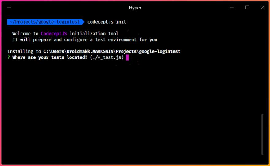 Codeceptjs init