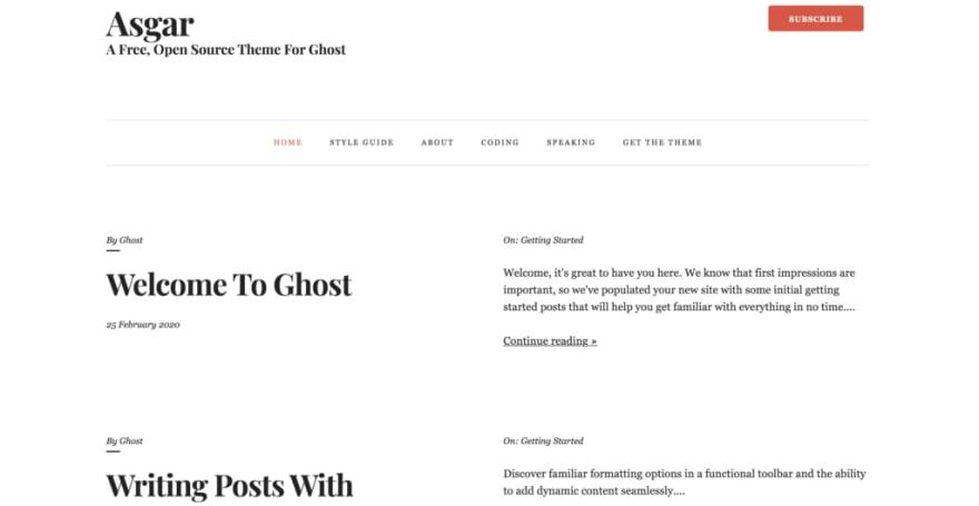 asgar ghost theme