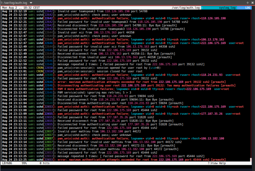 lnav on an auth.log (yes ssh is on port 22 on this system.)