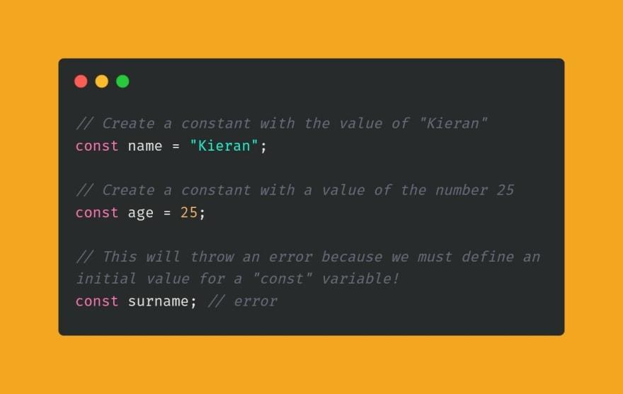 Example of const re-assign error