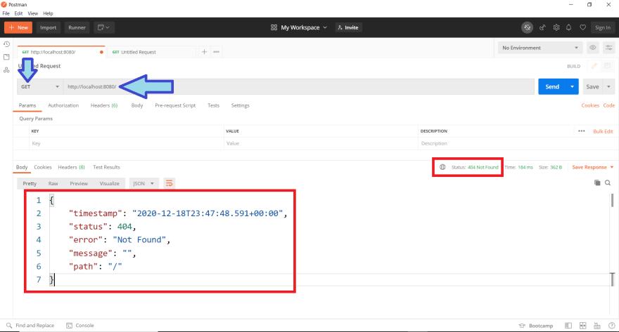 API sendo executada via postman