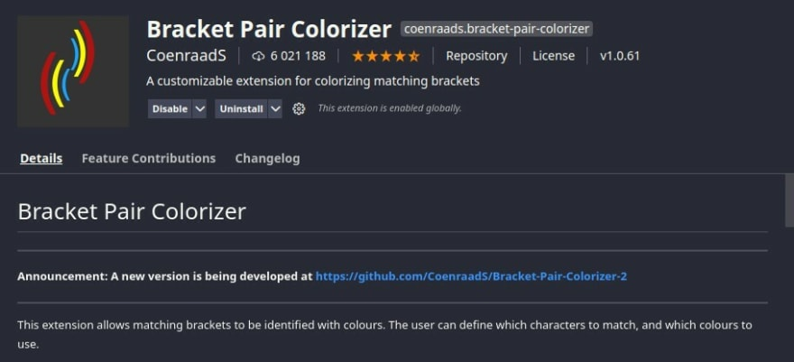 Bracket Pair colorizer on vs code