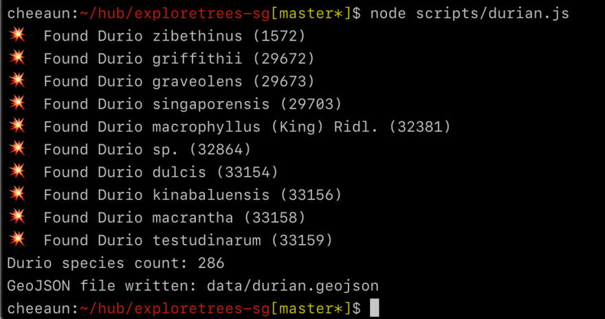 Terminal showing a node script for durian listing down the durio species