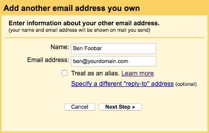 Gmail's add email address popup