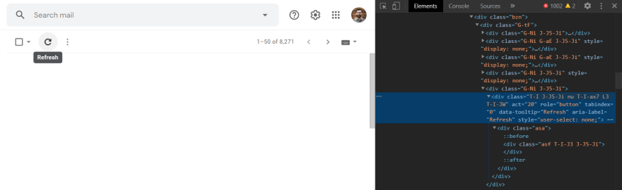 Inspecting Gmail's refresh button
