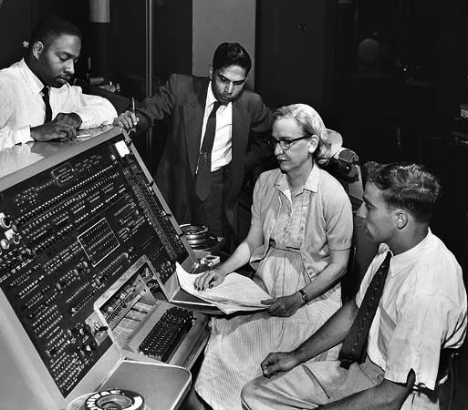 Grace Hopper at work as a pioneering computer scientist in 1960