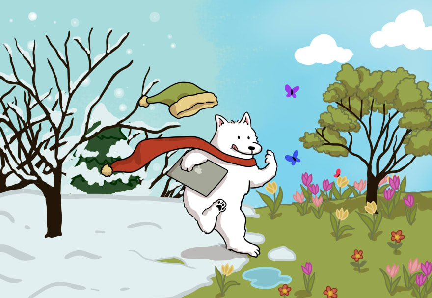 White cartoon dog running with a laptop tucked under his paw from a winter landscape with bare trees and snow into a spring landscape with greenery, flowers, and butterflies.