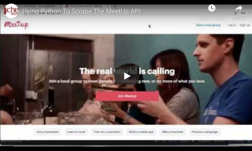 Using Python to Scrape the Meet-Up API - DEV Community